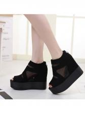 Peep Toe Gauze Platform Heels For Women