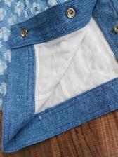 Square Neck Single-Breasted Denim Skirt Sets