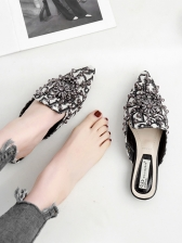 Hot Sale Diamond Pointed Toe Mules Slippers