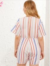 Plus Size V Neck Tie-Wrap Striped Romper