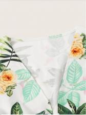 Plants Printed Bow Plus Size 2 Pieces Shorts Sets