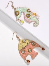 Asymmetric Fish Shape Diamond Decor Earrings