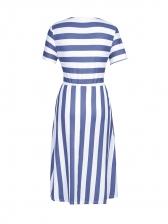 Casual Striped Female Short Sleeve Dress