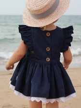 Summer Solid Cap Sleeve Dress For Baby Girls