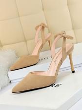 Korean Suede Pointed Toe Bow Slip On High Heels