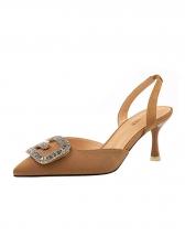 Rhinestone Patchwork Pointed Slingback Heeled Sandal