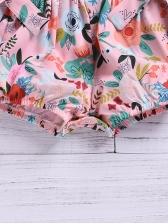 Cute Cap Sleeve Flower Printed Baby Romper