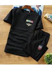 Sporty Short Sleeve Printed Activewear Mens