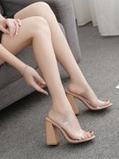 Casual Slip on Clear Chunky Heeled Women Slipper