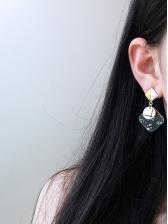 Color Block Geometric Design Clear Earrings