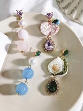 Embroidery Studded Rhinestones Asymmetric Earrings