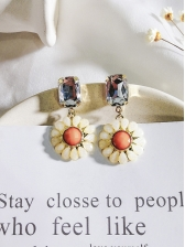 Color Block Sunflower Square Rhinestones Earrings
