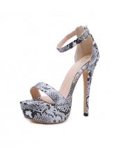 Snake Printed Platform Ankle Strap High Heels