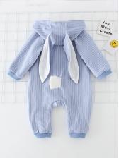 Rabbit Design Striped Letter Baby Sleepsuits