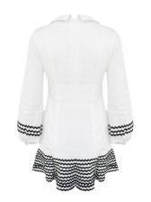 Fashion Contrast Color Lantern Sleeve Mini A-line Dress