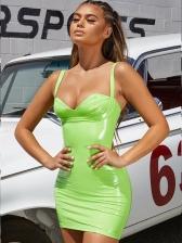 Sexy U Neck Solid Strap Pu Bodycon Dress