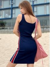 Casual U Neck Patchwork Knitting Sleeveless Dress