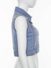 Turndown Neck Short Sleeveless Denim Jacket