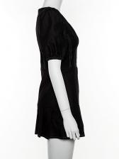 Summer Square Neck Puff Sleeve Ruffled Denim Dress