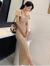 V Neck Tie-Wrap Ruffles Sleeve Midi Dress
