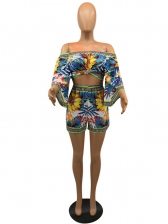 Bohemia Style Boat Neck Floral Summer Co-Ords