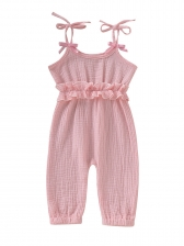 Solid Tie Bow Baby Girls Sleeveless Jumpsuit