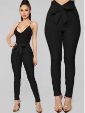 Classic Tie Wrap V Design Black Long Pant For Women