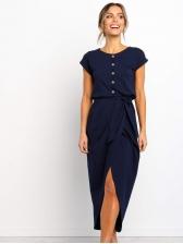 Fashion Tie Wrap Split Irregular Short Sleeve Dress