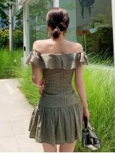 Korea Design Lace Hem Short Sleeve Dress