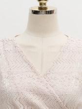 V Neck Lace Panel Pleated Tie Wrap Sleeveless Dress