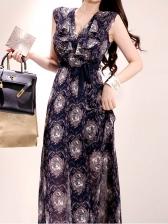 V Neck Printed Ruffled Tie Wrap Maxi Dress