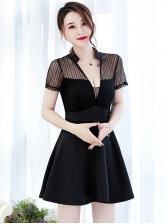 Sexy V Neck Short Sleeve A-line Dress