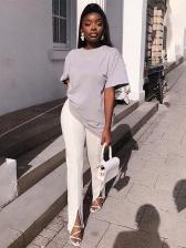 Solid Color High Waist Slit Long Pant For Women
