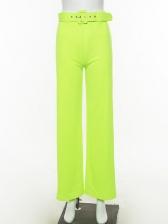 High Waist Solid Wide Leg Pants For Women
