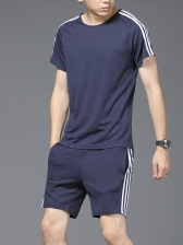 Casual Crew Neck Striped Short Sleeve Men Tee With Shorts