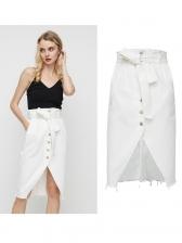 Single-Breasted Split Hem White Denim Skirt