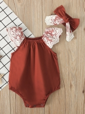 Cute Lace Patchwork Girl Romper With Bow Hair Band