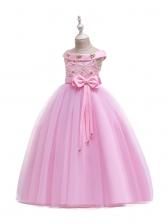 Flower Patchwork Bow Sleeveless Bubble Girl Dress