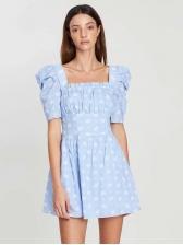 Vintage Floral Print Puff Sleeve Mini Dress