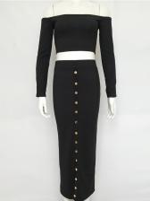 Off Shoulder Multiple Button 2 Pieces Skirt Sets