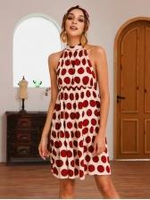 Hot Sale Backless Polka Dot Halter Dress