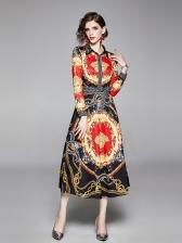 Vintage Printed Turndown Collar Long Sleeve Midi Dress
