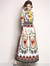 Turndown Collar Heart Printed Maxi Dress