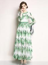 Peasecod Printed Large Hem Long Sleeve Maxi Dress