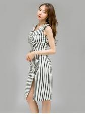 Fashion Lapel Collar Striped Sleeveless Dress