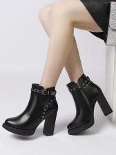 New Arrival Patchwork Chunky Ankle Martin Boot