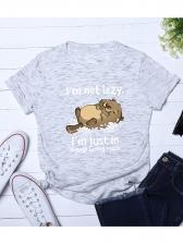 Crew Neck Cute Cartoon Cat Short Sleeve Tee