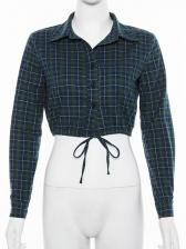 Easy Matching Turndown Collar Plaid Ladies Blouse