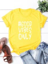 Letter Short Sleeve Plus Size T-shirt For Women