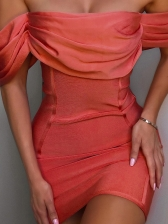 Euro Off Shoulder Pleated Red Bodycon Dress
